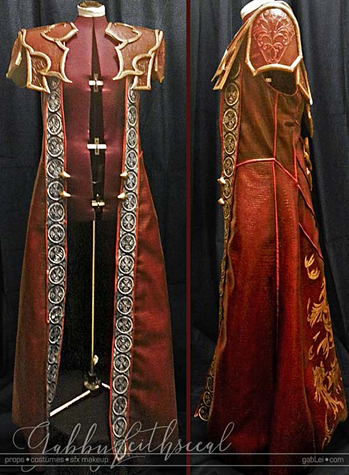 Side and front view of red jacket with gold filigree details and silver trim