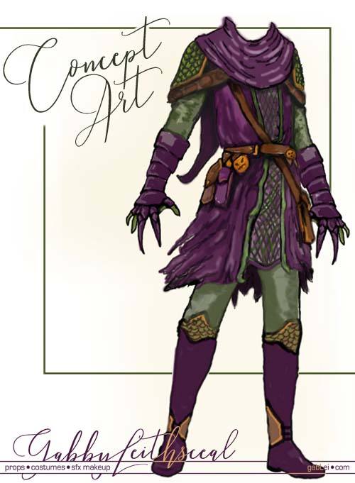 Concept artwork of a medieval version of the green goblin costume.
