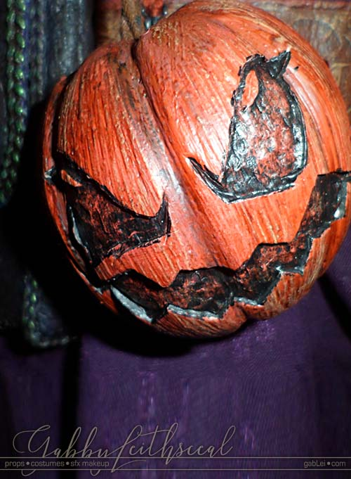 Close up of pumpkin bomb for the green goblin costume.