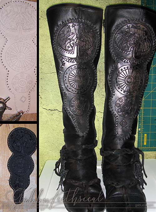 Prince Nuada costume knee high black leather boots with 3 engraved stacked circle details containing a stylized tree of life, inner circle patterns and braided leather wraps.