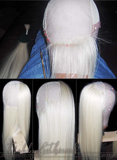Four stages of progress making Prince Nuada costume's long hand laced wig.