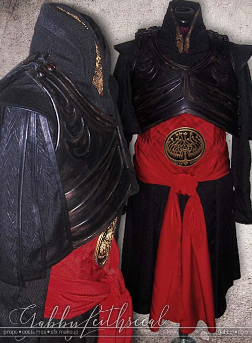 Front and side view of the Prince Nuada finished jacket, belt, royal tree of life seal, sash and armor.