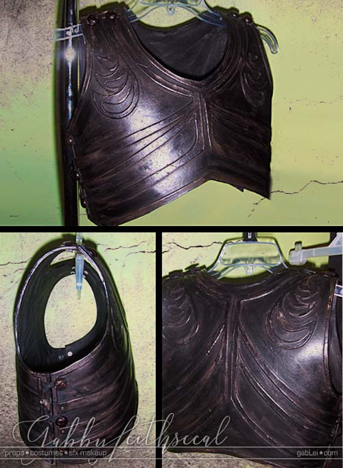 Front , back and side view of the Prince Nyada costume leather vest armor with raised rib and leaf details.