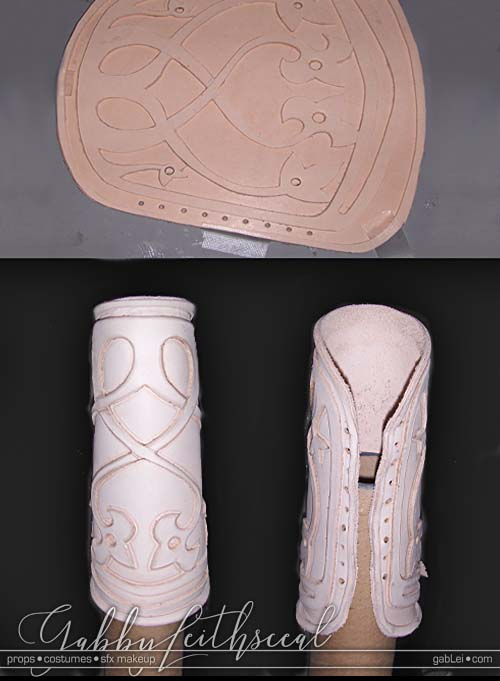 Work in progress of the Prince Nuada costume leather bracers with stylized vine like intertwined flower detail.
