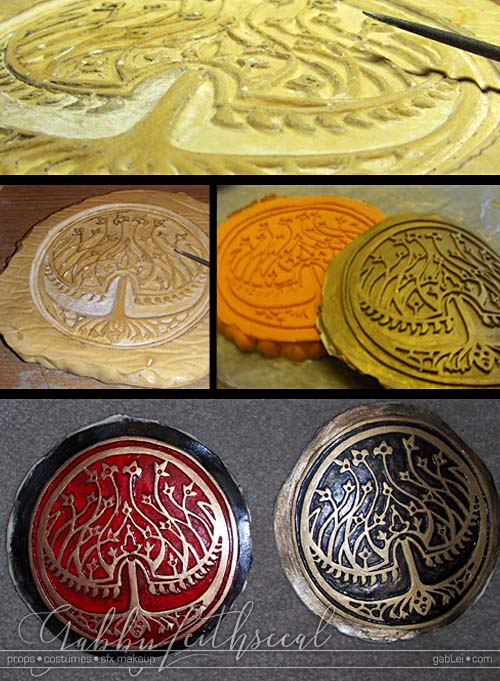 Sculpt, mold, cast and paint progress of the large round royal seal of bethmoora, a stylized tree of life.