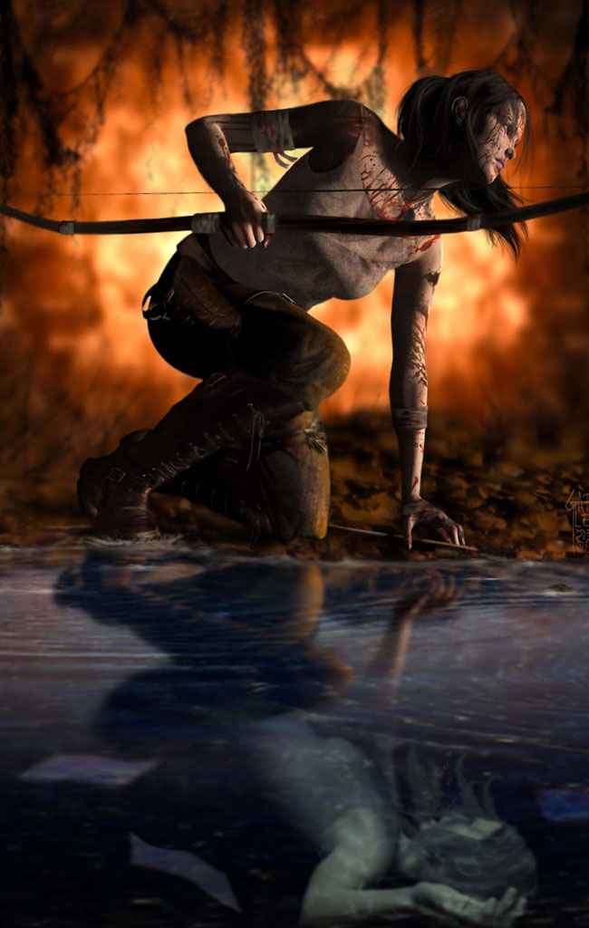 3D Artwork with modern female warrior crouching by water holding a bow. The water has a reflection of the woman falling.