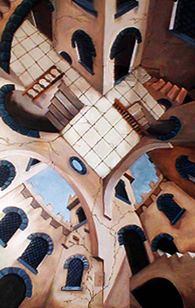 Mural painting of a castle courtyard with twisting perspectives.